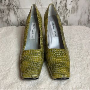 Bellini Snakeskin print Square toe heels